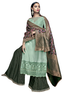Stylee Lifestyle Green Satin Embroidered Dress Material (2270)