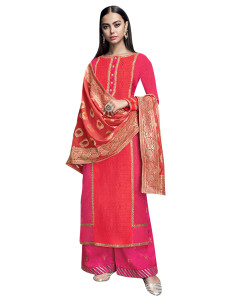 Stylee Lifestyle Magenta Satin Embroidered Dress Material (2271)