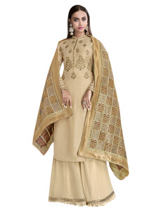 Stylee Lifestyle Beige Satin Embroidered Dress Material (2272)