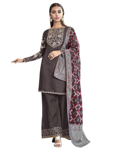 Stylee Lifestyle Coffee Art Silk Embroidered Dress Material (2273)