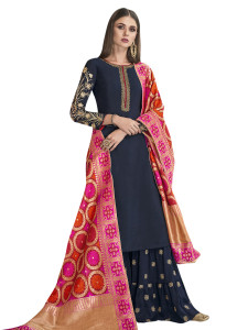 Stylee Lifestyle Navy Blue Chanderi Silk Embroidered Dress Material (2274)