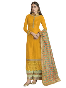 Stylee Lifestyle Yellow Satin Embroidered Dress Material (2275)