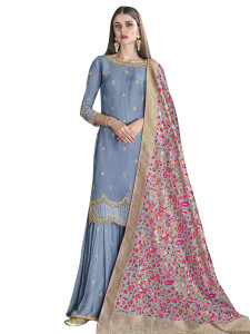Stylee Lifestyle Blue Satin Embroidered Dress Material (2276)