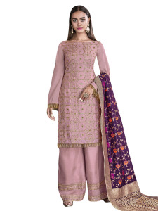 Stylee Lifestyle Pink Satin Embroidered Dress Material (2277)