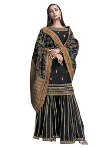 Stylee Lifestyle Black Raw Silk Embroidered Dress Material (2278)