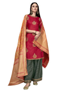Stylee Lifestyle Red Satin Embroidered Dress Material (2279)