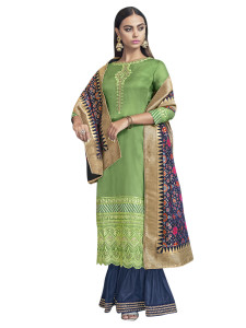 Stylee Lifestyle Green Satin Embroidered Dress Material (2280)