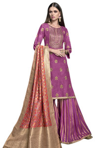 Stylee Lifestyle Purple Satin Embroidered Dress Material (2281)