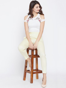 Women's Cream Cotton Pant Strechable Fabric With One Side Pocket Free Size By Comfort