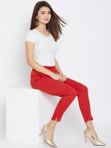 Women's Red Cotton Pant Strechable Fabric With One Side Pocket Free Size By Comfort