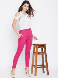 Women's Pink Cotton Pant Strechable Fabric With One Side Pocket Free Size By Comfort