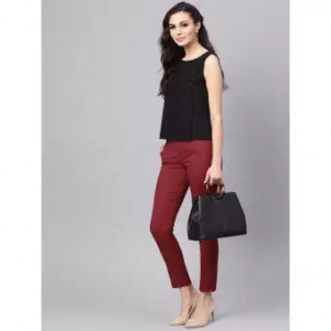Women's Maroon Straight Pant Viscose Rayon Fabric With One Side Zip Pocket Free Size By Comfort