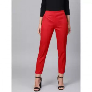 Women's Red Straight Pant Viscose Rayon Fabric With One Side Zip Pocket Free Size By Comfort