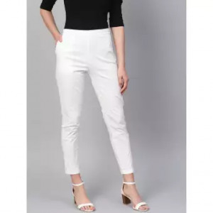Women's White Straight Pant Viscose Rayon Fabric With One Side Zip Pocket Free Size By Comfort
