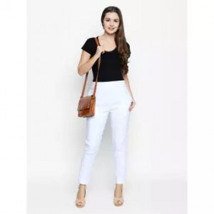 Womens White Straight Fit Solid Cigarette Trousers