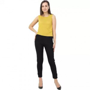 Womens Black Straight Fit Solid Cigarette Trousers