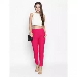 Womens Pink Straight Fit Solid Cigarette Trousers