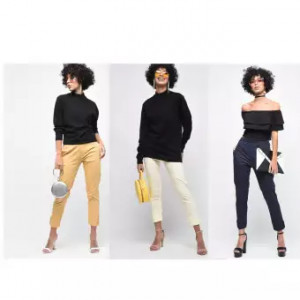 Pack of 3 -Women's Cotton Lycra Strechable Solid Cigarette Trousers