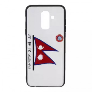 Nepal Flag Printed Back Cover For Samsung J6 Plus - Black/Red