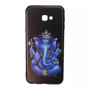 Lord Ganesh Printed Back Cover For Samsung J4+ - Black/Blue