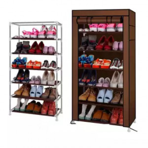 6-Layer Simple Design Non Woven Fabric Single Row Shoe Rack-Assorted Color