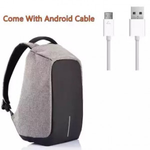 High Quality Anti-Theft Backpack New Design With Android Cable- Grey