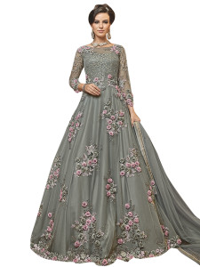 Stylee Lifestyle Grey Net Embroidered Dress Material - 2348