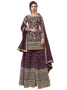 Stylee Lifestyle Wine Net Embroidered Dress Material - 2349
