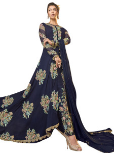 Stylee Lifestyle Navy Blue Art Silk Embroidered Dress Material - 2350