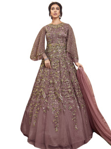 Stylee Lifestyle Pink Net Embroidered Dress Material - 2351