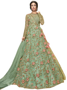Stylee Lifestyle Green Net Embroidered Dress Material - 2352