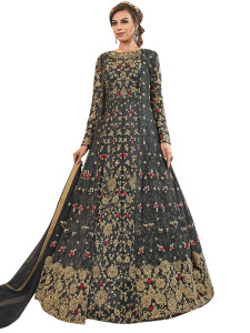 Stylee Lifestyle Grey Net Embroidered Dress Material - 2353