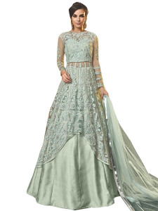 Stylee Lifestyle Green Net Embroidered Dress Material - 2355