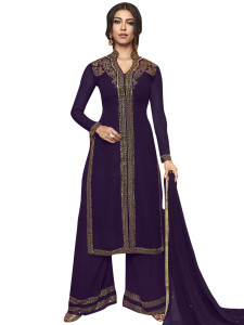 Stylee Lifestyle Purple Georgette Embroidered Dress Material - 2356