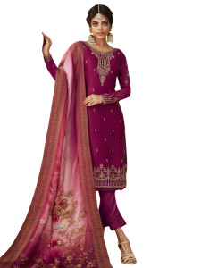Stylee Lifestyle Wine Satin Embroidered Dress Material - 2359