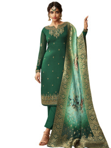 Stylee Lifestyle Green Satin Embroidered Dress Material - 2360