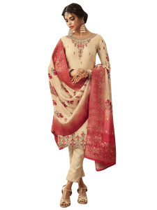 Stylee Lifestyle Beige Satin Embroidered Dress Material - 2361