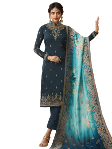 Stylee Lifestyle Navy Blue Satin Embroidered Dress Material - 2362