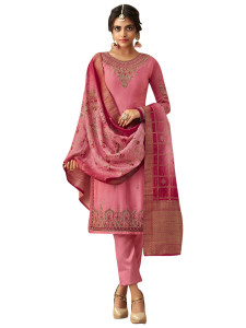 Stylee Lifestyle Pink Satin Embroidered Dress Material - 2363