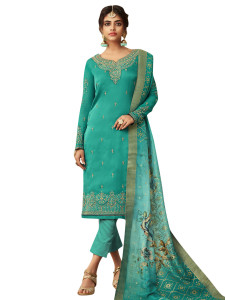 Stylee Lifestyle Green Satin Embroidered Dress Material - 2364