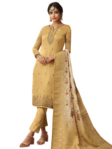 Stylee Lifestyle Yellow Satin Embroidered Dress Material - 2365