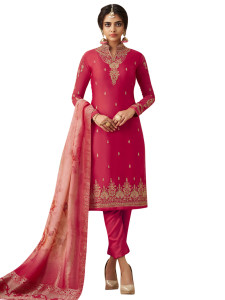 Stylee Lifestyle Magenta Satin Embroidered Dress Material - 2366