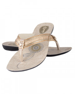 Shikhar Women's Toe Slip Stone Slip White Sandal With Golden Strap