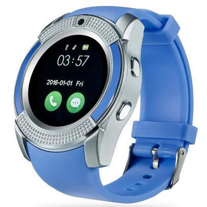 V8 Bluetooth Smartwatch With Sim & TF Card Support Mobile Phone Wrist Watch  Phone, Blue
