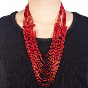 Pote Store's Red Pote Clip Spring Harmony Haar  Necklace