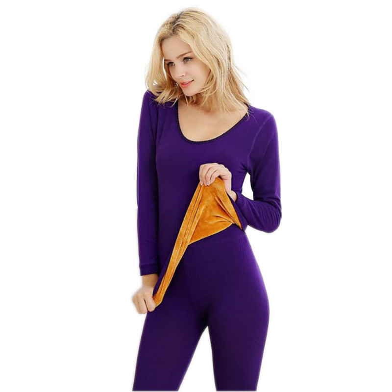 6eaef8e8d79 Women s Planet Ladies Winter Purple Thermal Inner Warmer Fur Top and  Trouser Set